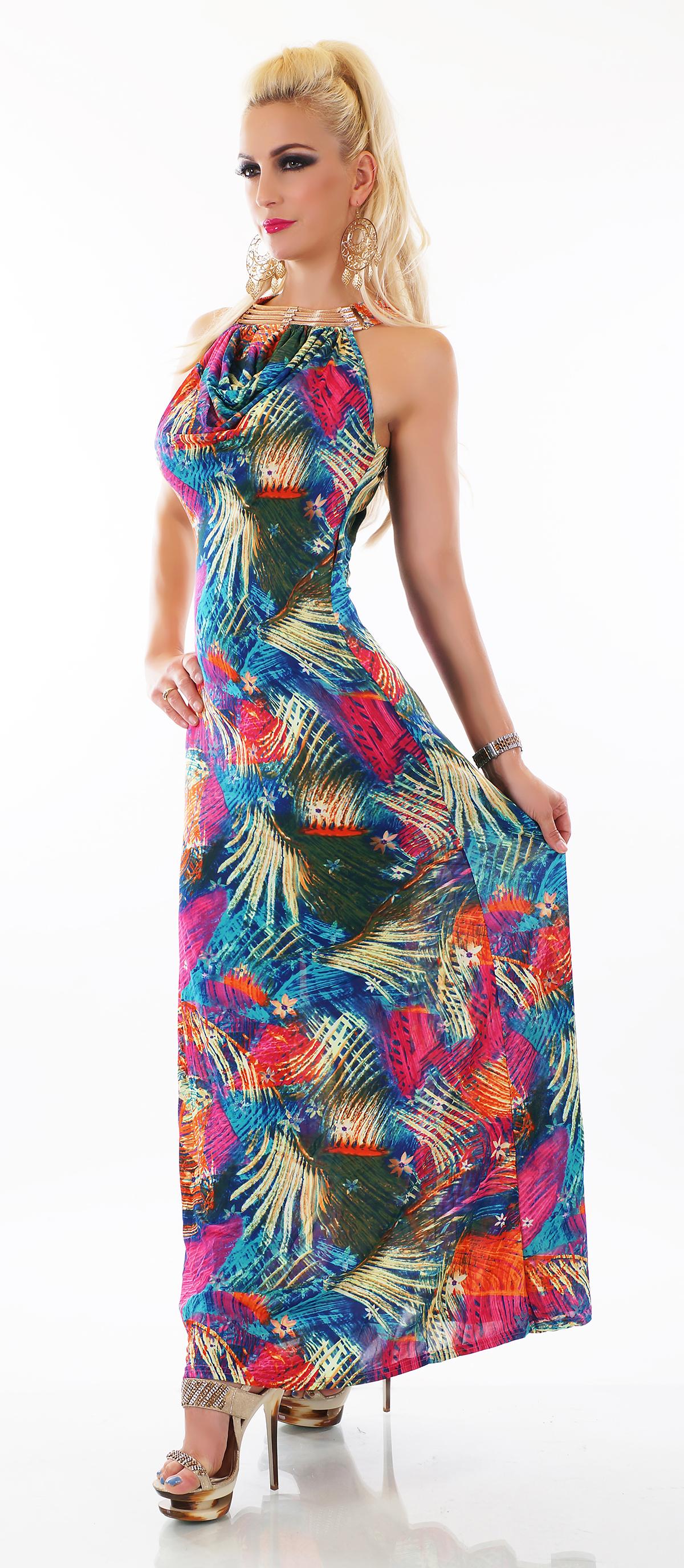 Dámské letní šaty se zlatou ozdobou 5d503ee298