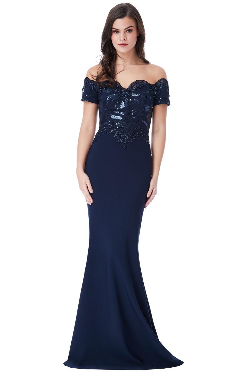 Společenské dlouhé šaty s flitry modrá 0076017a60