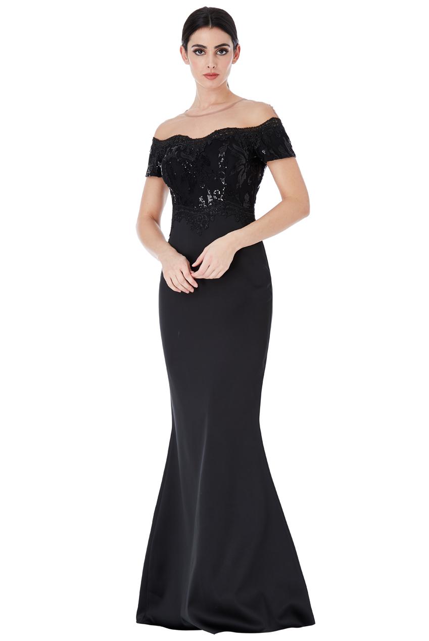 Společenské dlouhé šaty s flitry černé 53ac1c578a
