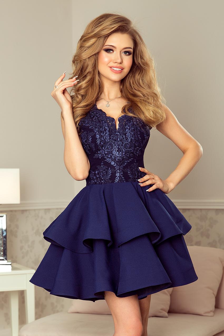 9862f7e8c863 Koktejlové krátké šaty s dvojitou sukní NUMOCO® modrá