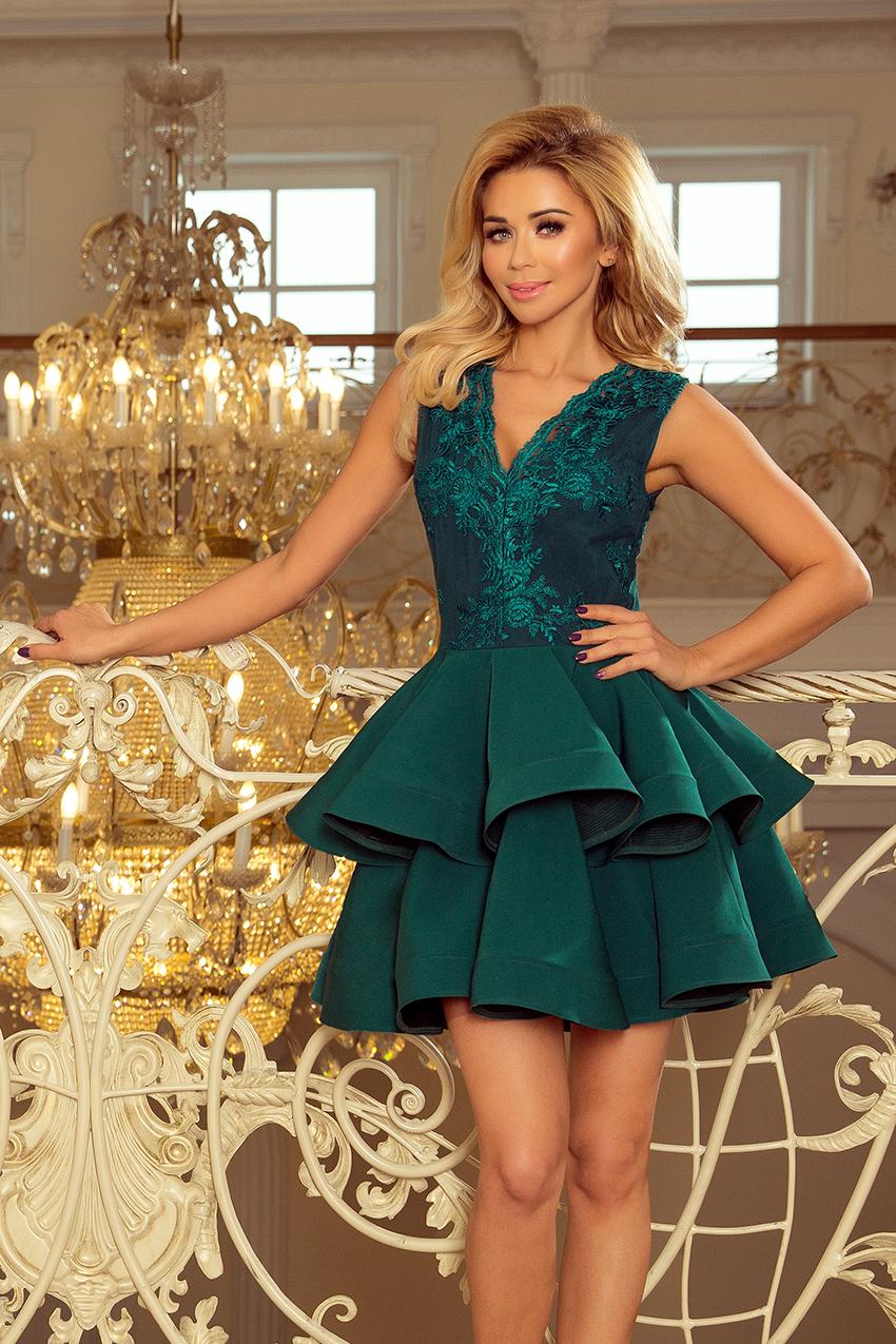 60a379efef5c Koktejlové krátké šaty s dvojitou sukní NUMOCO® zelené