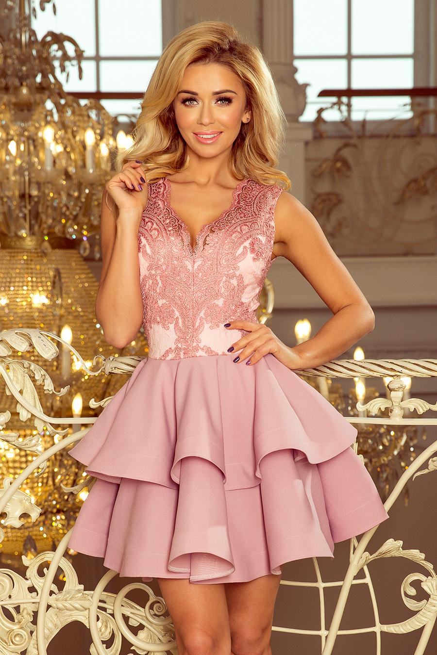 c441ab0b8659 Koktejlové krátké šaty s dvojitou sukní NUMOCO® růžová