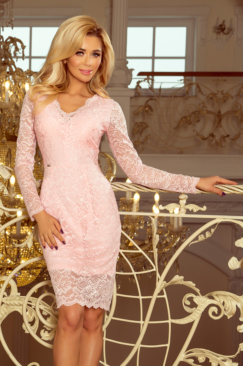 Dámské šaty krajkové s dlouhým rukávem NUMOCO® 170-4 růžová d282e868ad5