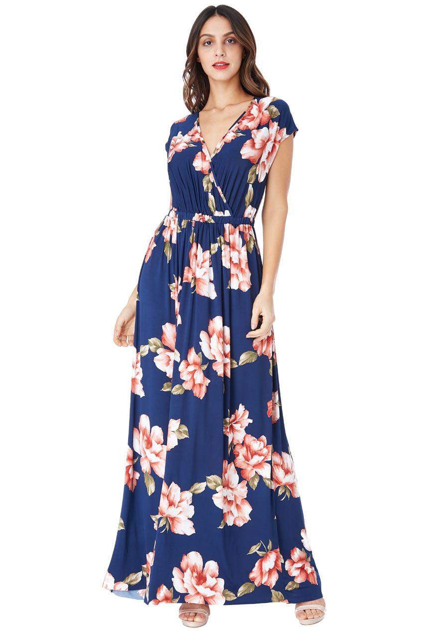 ae9473d0cae DÁMSKÉ OBLEČENÍ | Dlouhé letní šaty s potiskem květů modré | Móda ...