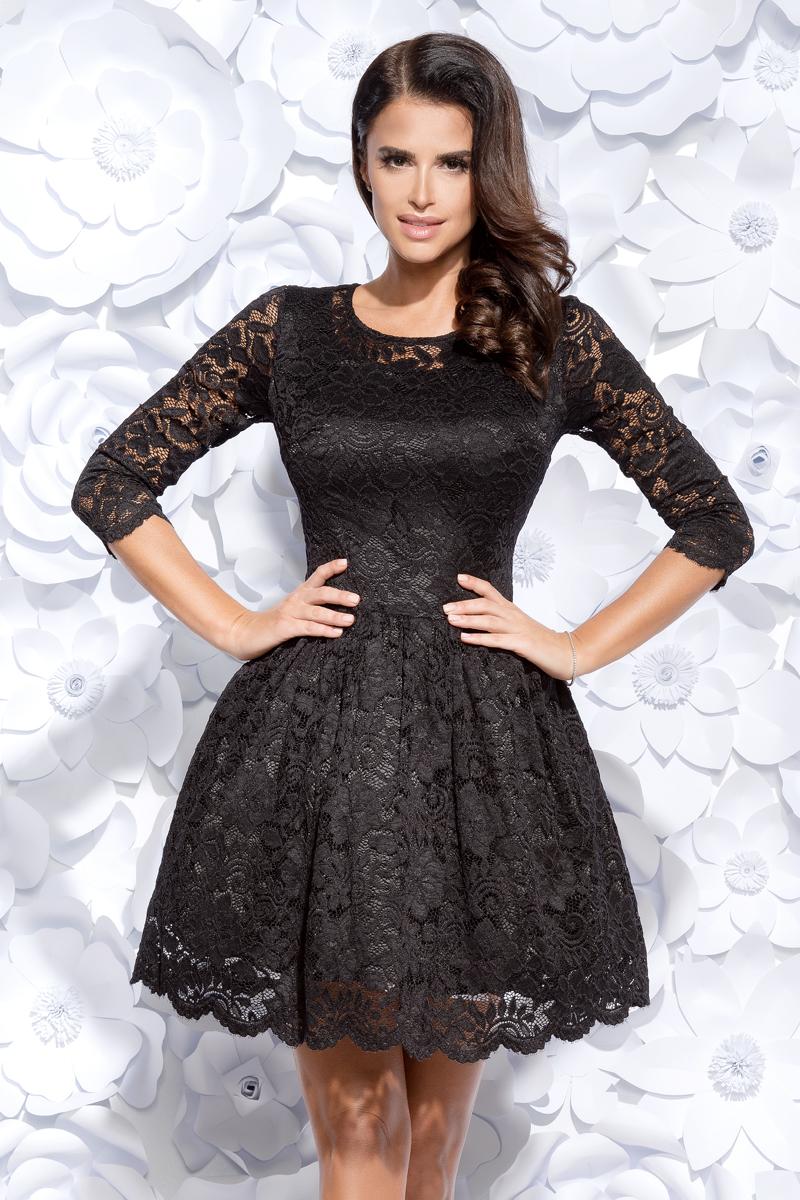 Krajkové krátké šaty s 3 4 rukávem černé 16ccd0389fe