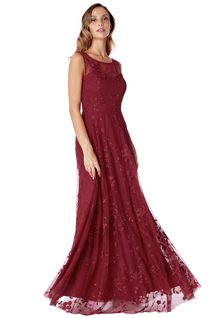 Dámské dlouhé společenské šaty bordó ad9d34869c