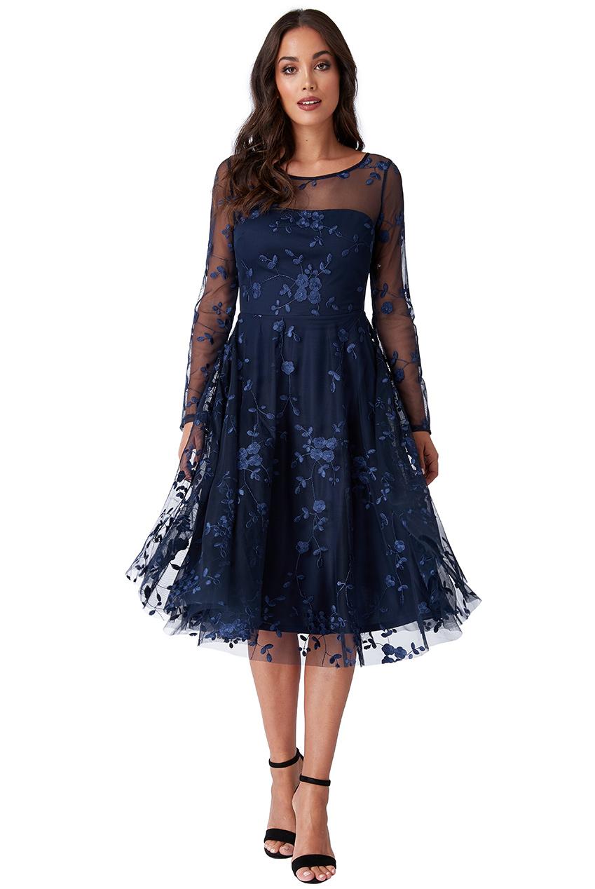 c97ead299c79 Dámské krátké společenské šaty modrá