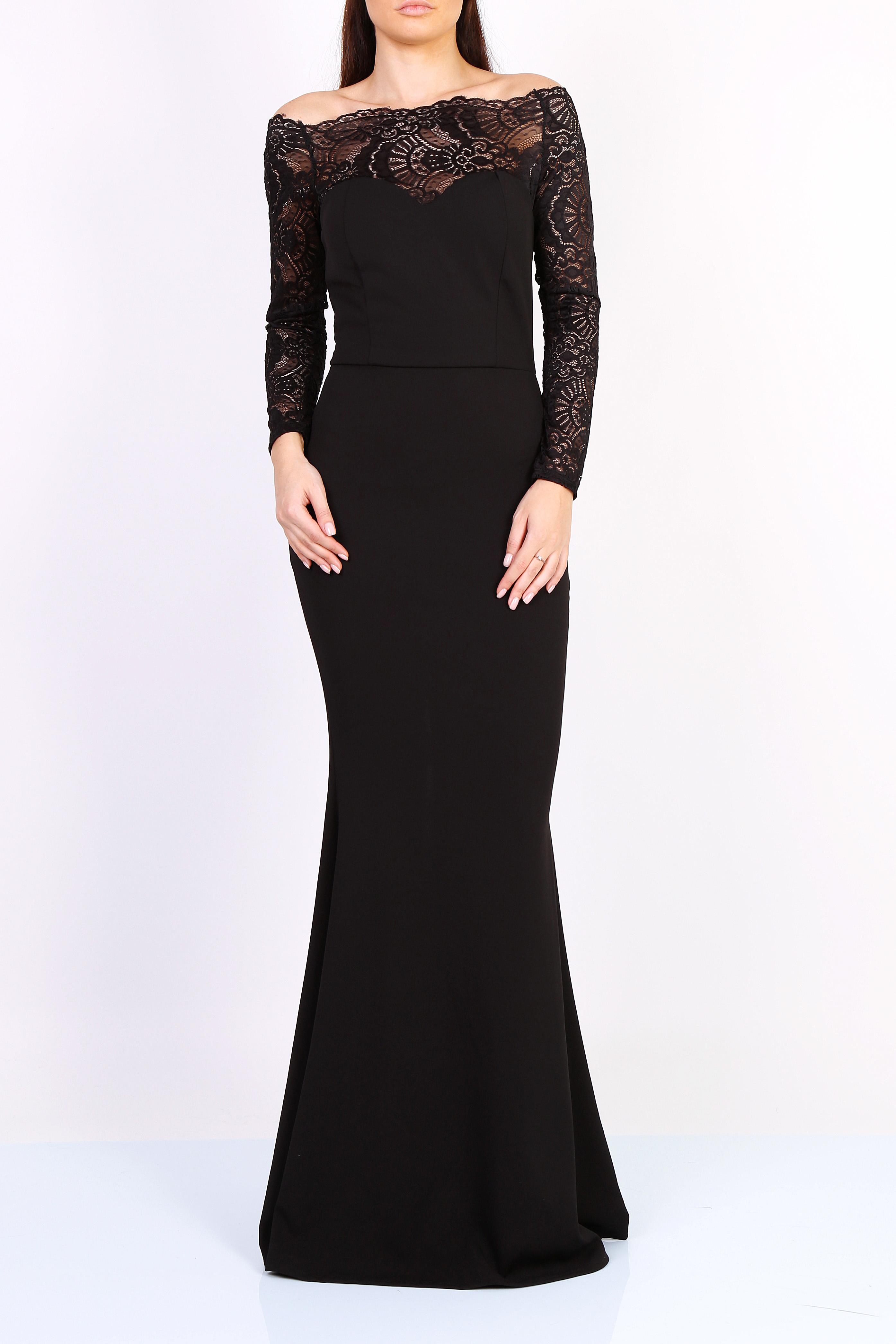 acc55e2412f Dámské dlouhé šaty s krajkovými rukávy černé