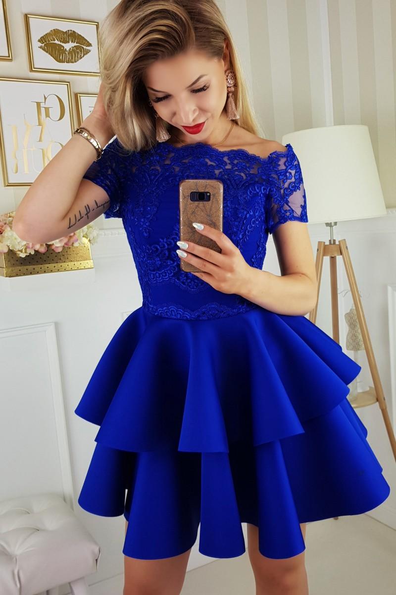 b11e245c16b1 Dámské společenské krátké šaty s dvojitou sukní modré