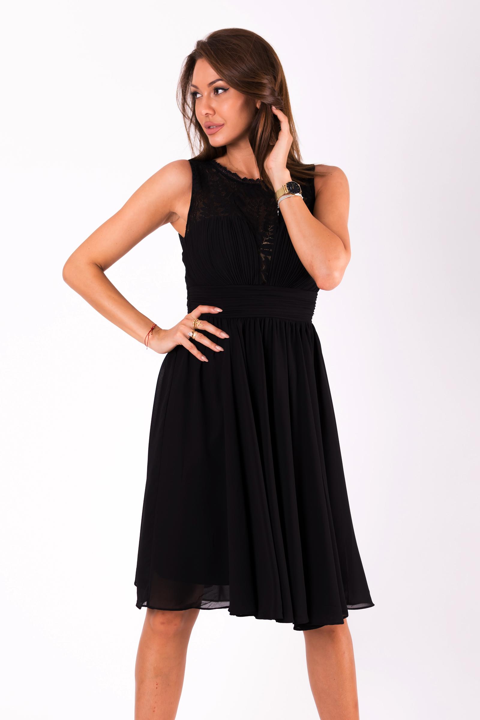 2f163f9cab6 Dámské společenské šaty Louise bez rukávů s krajkou černá