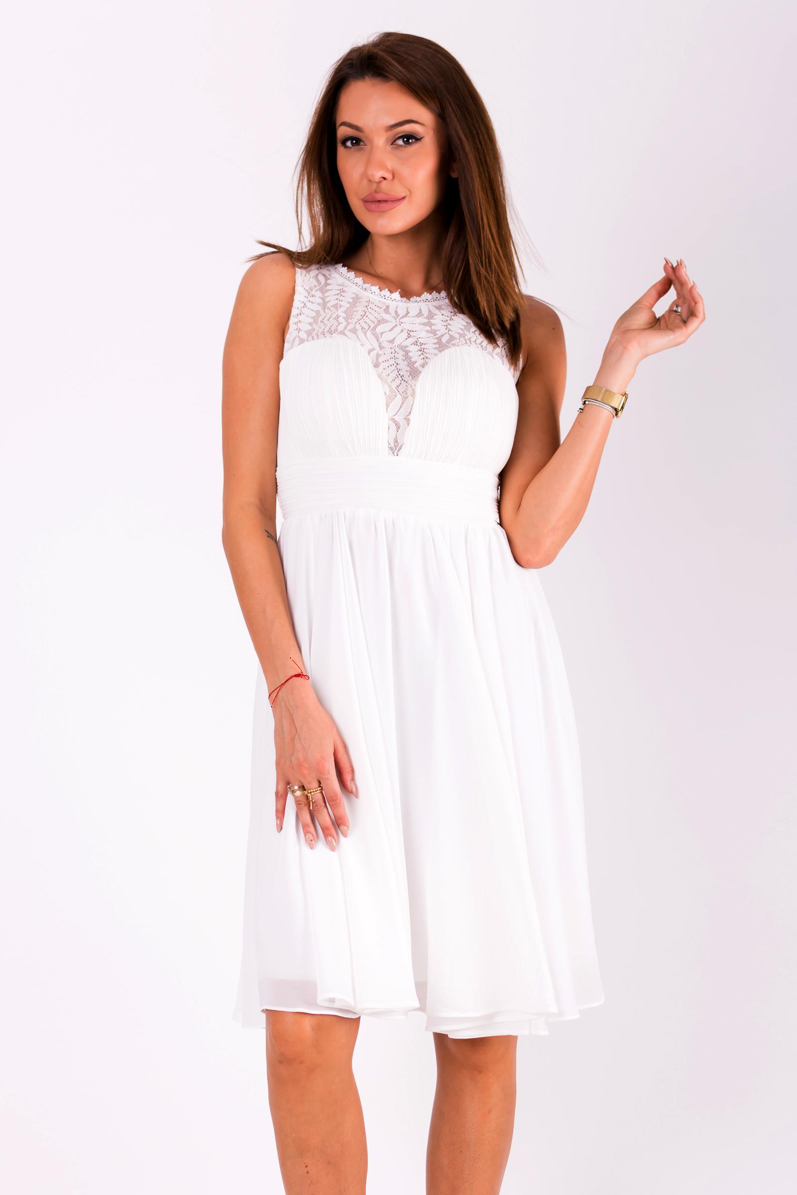 8acfbd84459 Dámské společenské šaty Louise bez rukávů s krajkou bílá