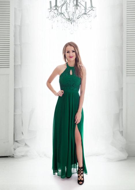 8d4d5e2504bf Dámské plesové a společenské dlouhé šaty Anita zelená