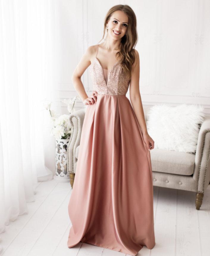 Dámské saténové večerní šaty JULIA růžová 4af07006ef