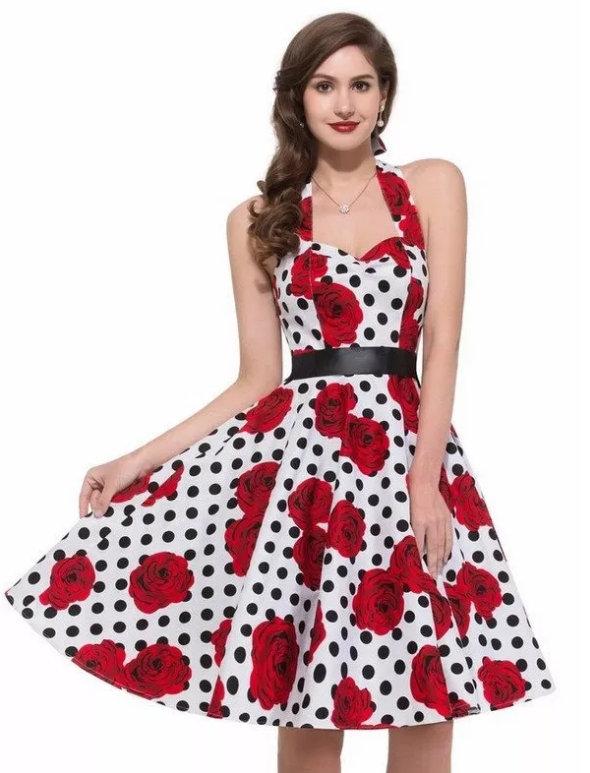 733eec14042c Dámské šaty RETRO styl s růžemi bílá