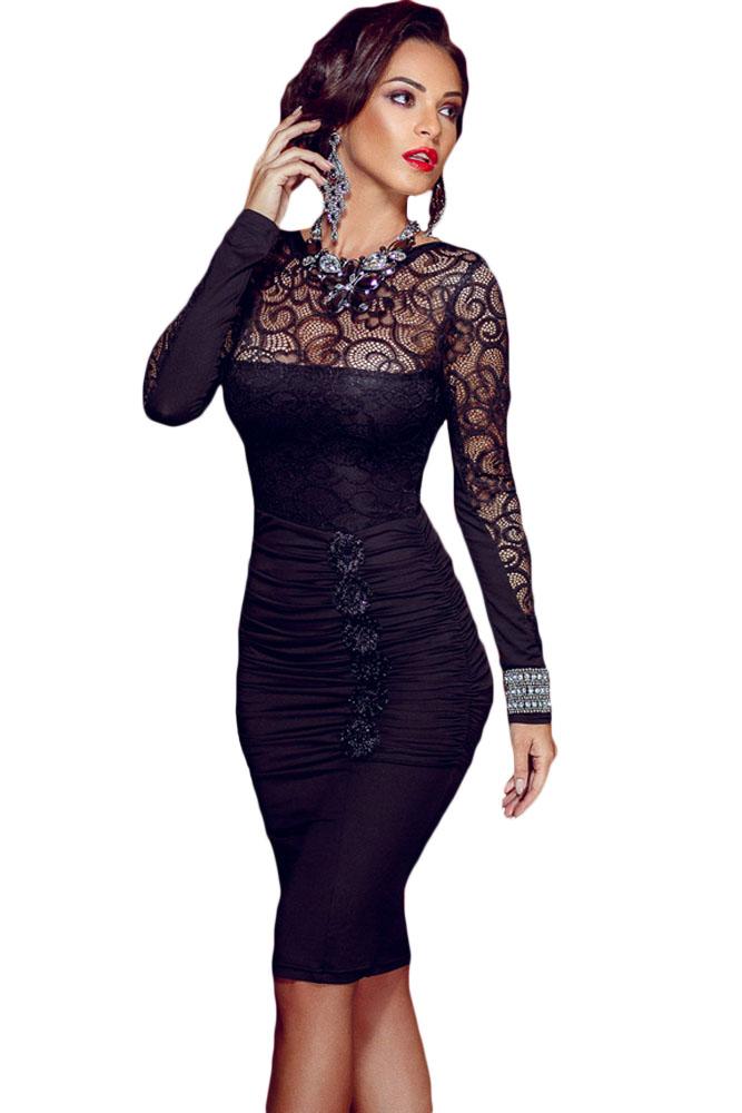 Atraktivní krajkové šaty s dlouhým rukávem 2. jakost ef75470ca80