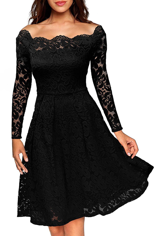 Společenské krajkové šaty černá (Dámské šaty)