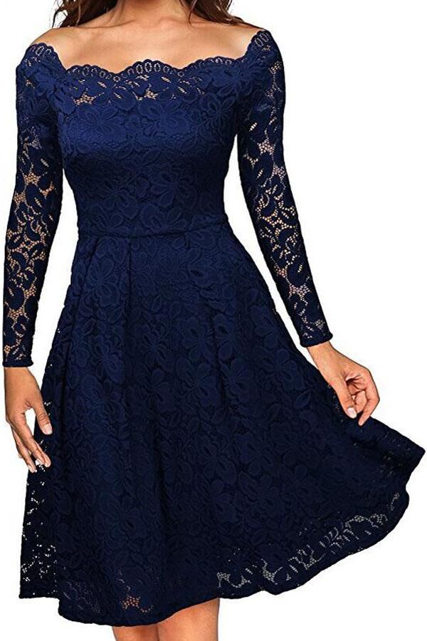 Společenské krajkové šaty modrá (Dámské šaty)