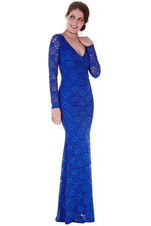 Společenské krajkové šaty 4CGDR566A modrá (Dámské šaty)