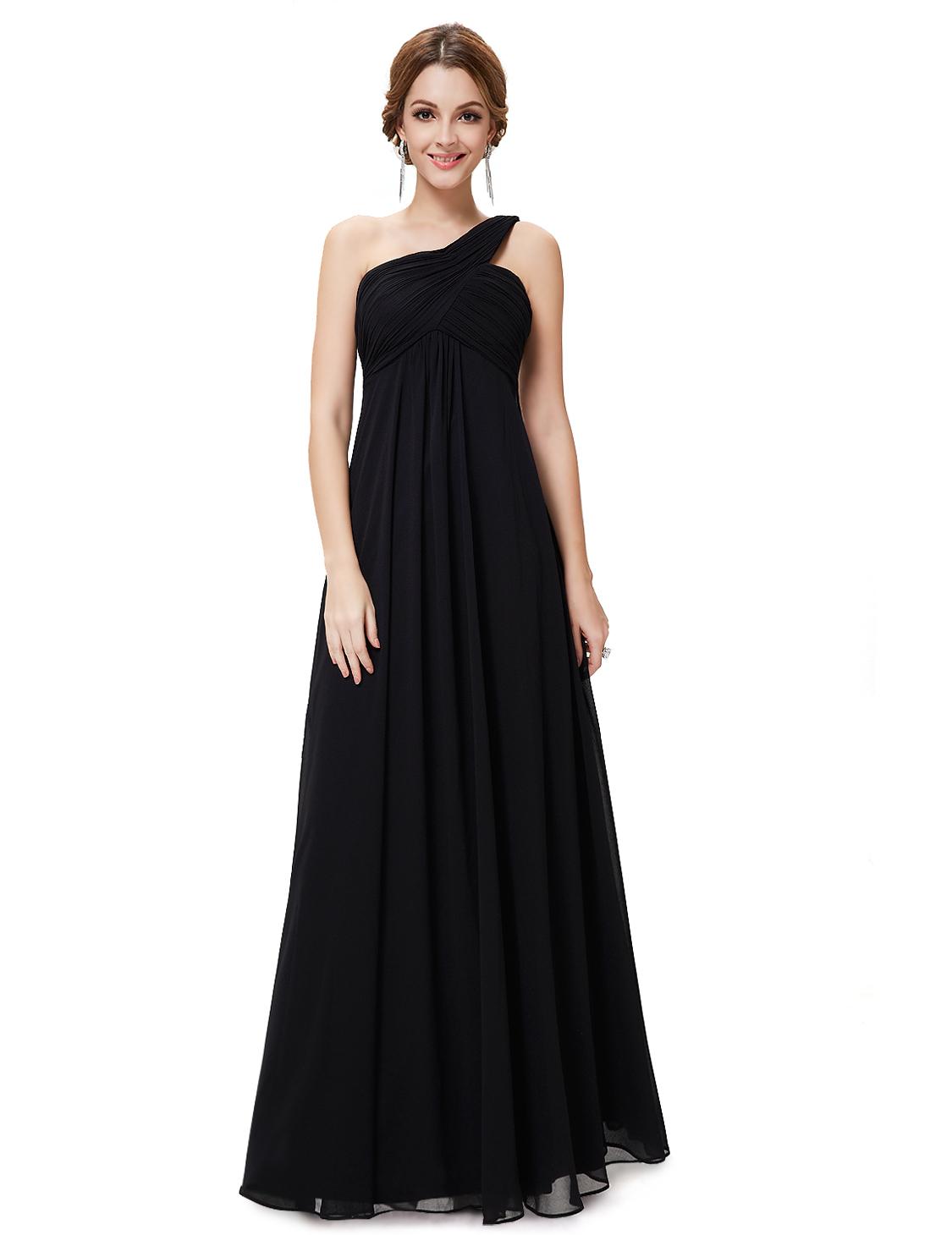Plesové a společenské šaty na jedno rameno Ever Pretty černá (Dámské šaty)