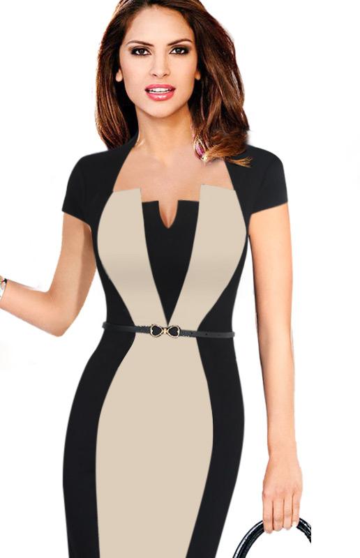 fe5007672f7 Elegantní pouzdrové midi šaty s opaskem