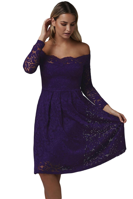 Společenské krajkové šaty fialová (Dámské šaty)