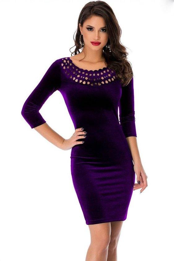 Dámské sametové mini šaty fialová (Dámské šaty)