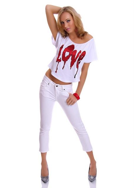 Dámské capri kalhoty - bílé (Dámské kalhoty)