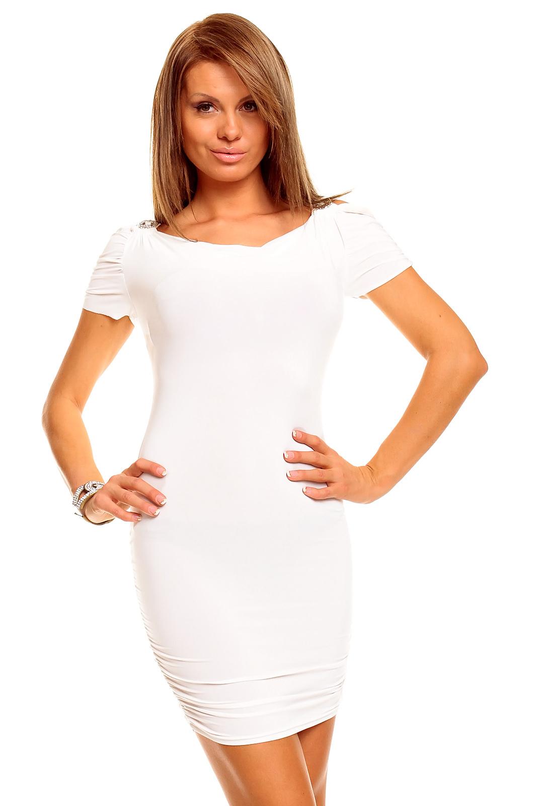 Atraktivní dámské šaty YOUNG BLOOG - bílé (Dámské šaty)