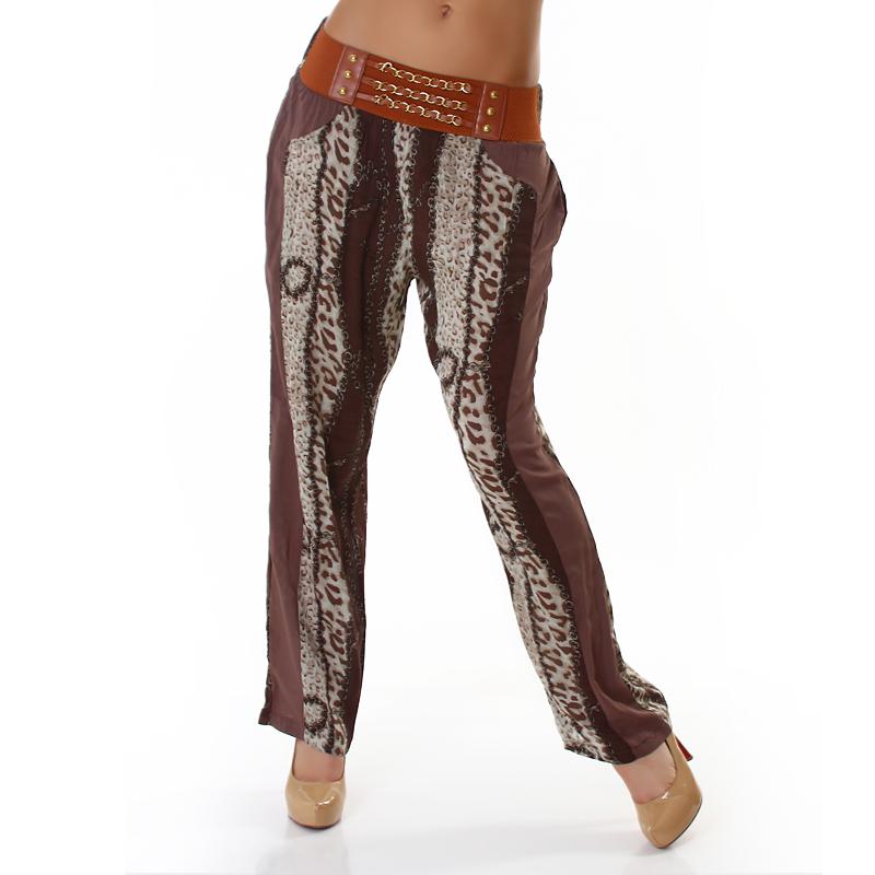Dámské letní volné kalhoty hnědá (Dámské kalhoty)