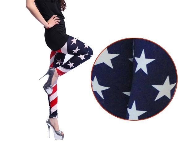 Legíny s americkou vlajkou modrá (Dámské legíny)