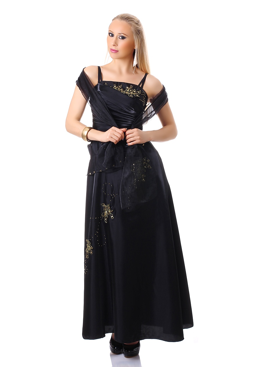 Společenské dlouhé šaty1486 černé (Dámské šaty)