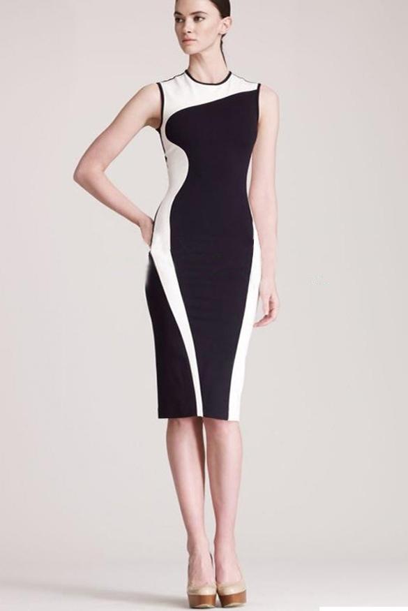 Stylové černobílé midi šaty (Dámské šaty)