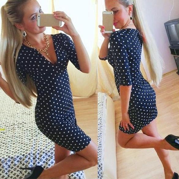 Dámské mini šaty s puntíky modrá (Dámské šaty)