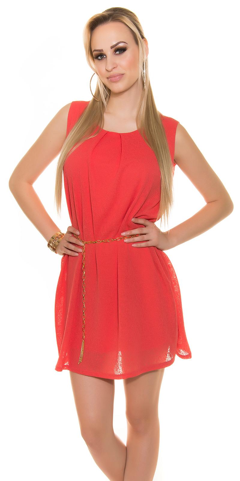 Koucla dámské mini šaty s řetízkem 2067 coral (Dámské šaty)