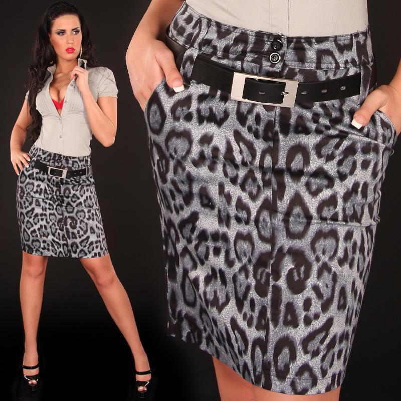 Dámská elegantní sukně leopard Koucla 2180 šedá (Dámská sukně)