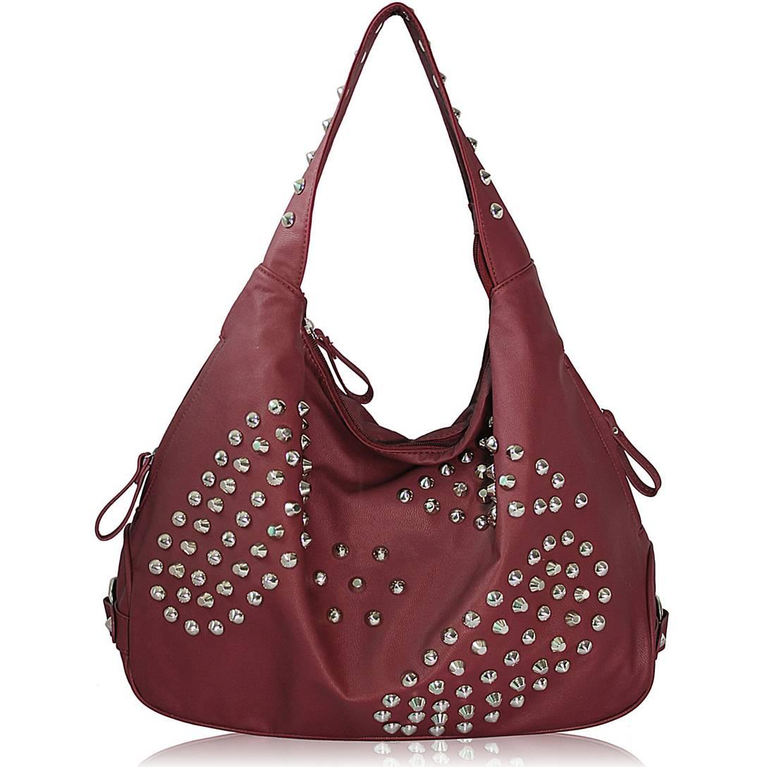 LS fashion dámská kabelka s cvočky LS00254 bordó (Dámská kabelka)