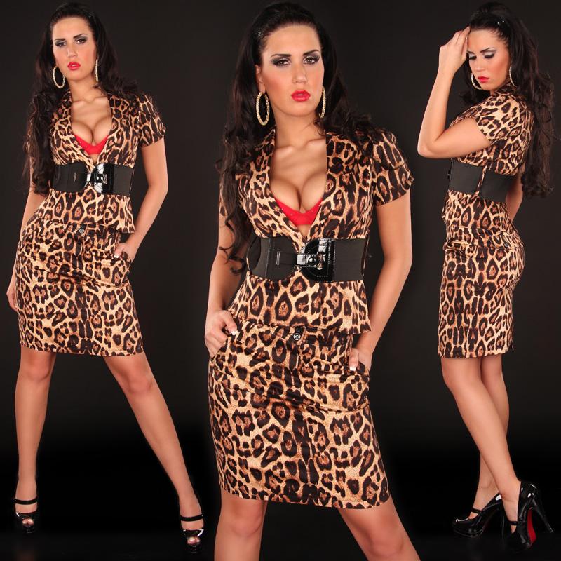 Koucla dámský elegantní komplet leopard 2305 hnědá (Dámský komplet)