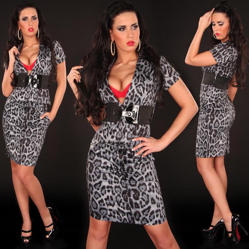 Koucla dámský elegantní komplet leopard 2306 šedá (Dámský komplet)