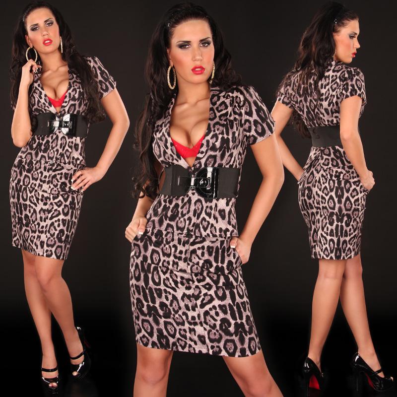 Koucla dámský elegantní komplet leopard 2307 hnědá (Dámský komplet)
