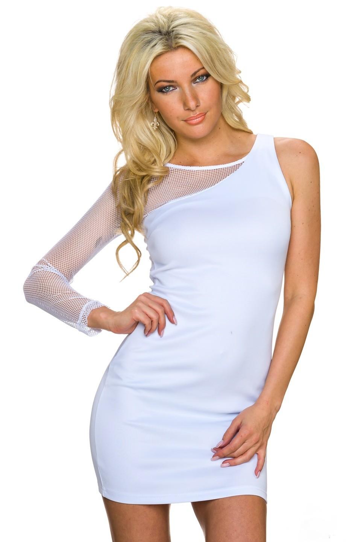 Dámské mini šaty s jedním rukávem 2325 bílá (Dámské šaty)