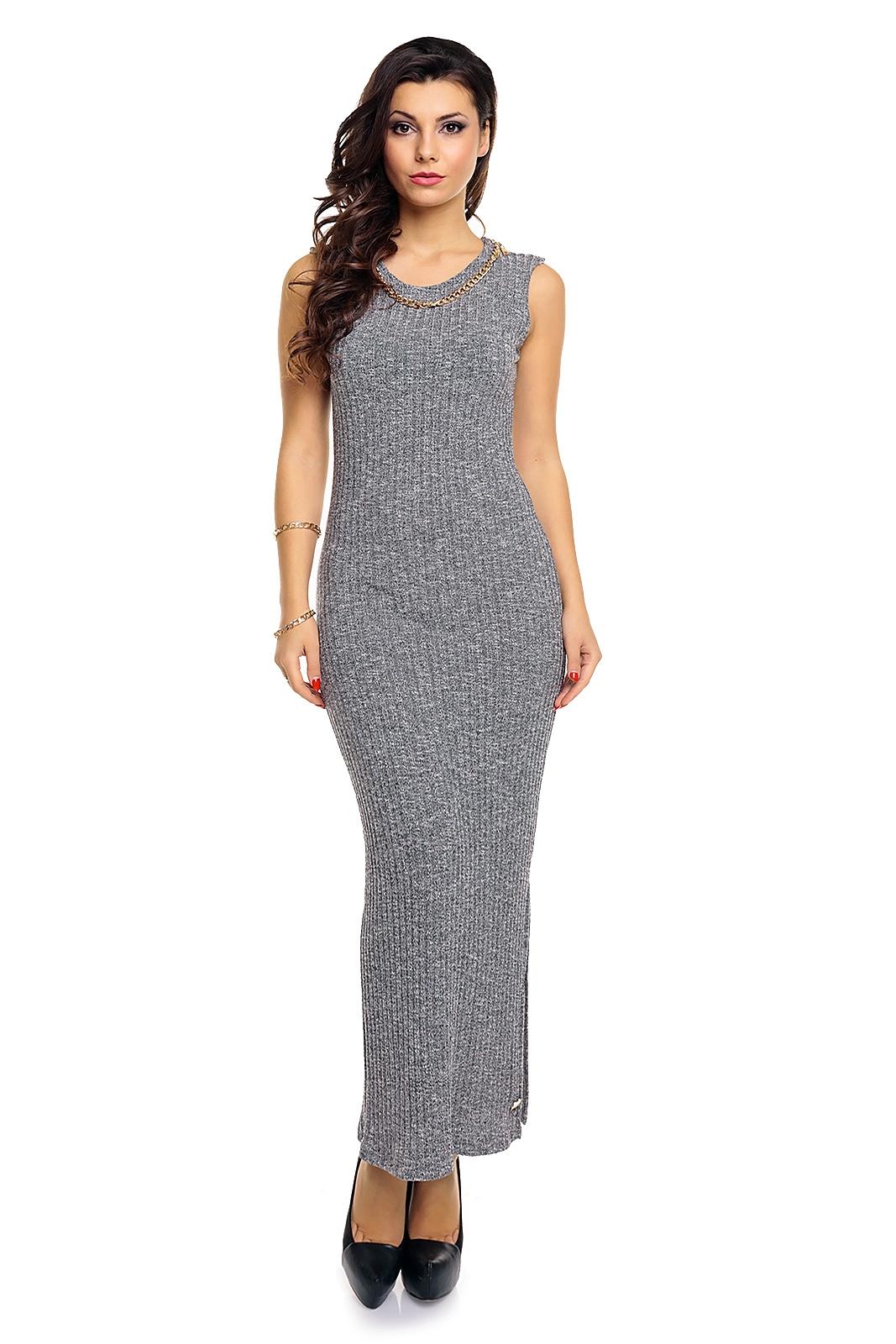Úpletové dámské maxi šaty Emma Ashley 2498 šedá (Dámské šaty)