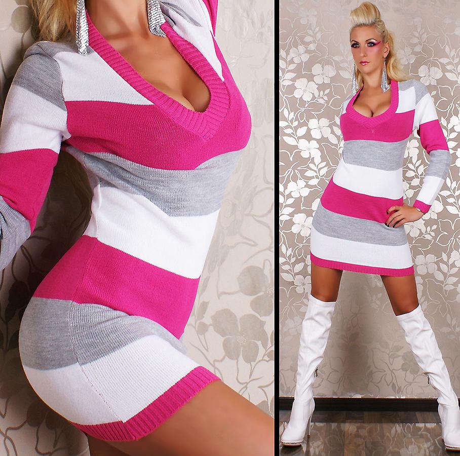Dámský luxusní dlouhý svetr pruhovaný růžová (Dámský svetr)