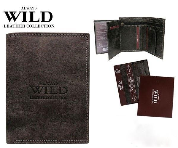 Pánská kožená peněženka ALWAYS WILD D1072L-MHU černá (Pánská peněženka)