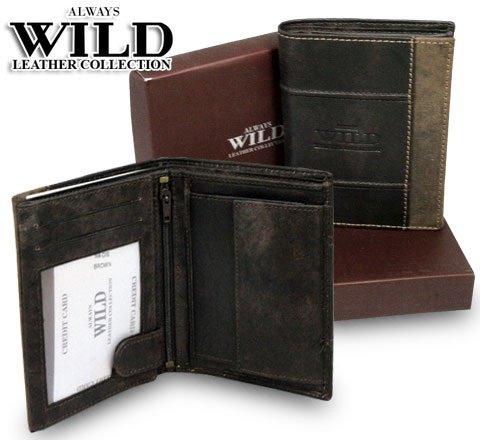 Pánská kožená peněženka ALWAYS WILD (N4 DIS) hnědá (Pánská peněženka)