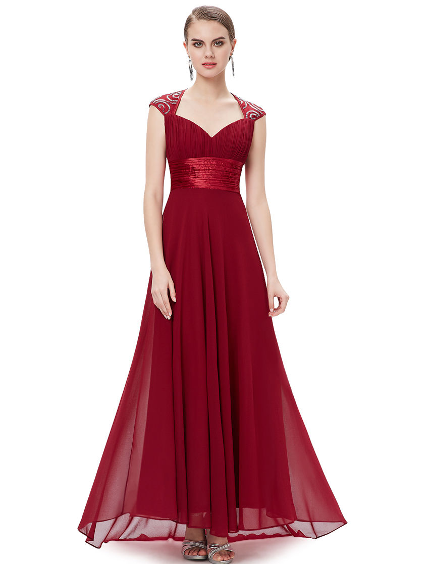 Ever Pretty plesové dlouhé šaty s flitry bordó (Dámské šaty)