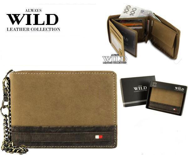 Pánská kožená peněženka Always s řetízkem písková (Pánská peněženka)