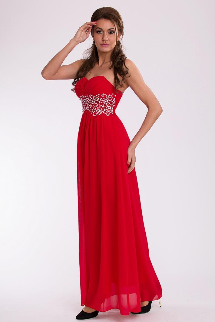 Eva & Lola dámské plesové a společenské dlouhé šaty červená (Dámské šaty)