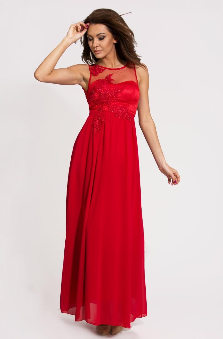 Eva & Lola dámské plesové a společenské dlouhé šaty s flitry červená (Dámské šaty)