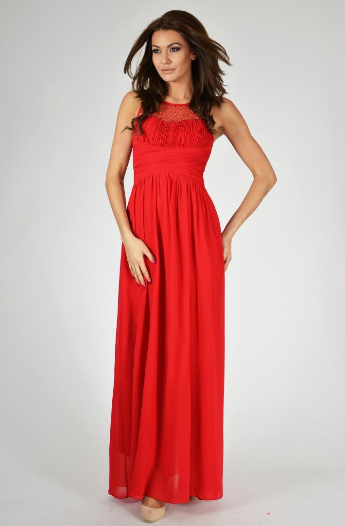 Eva & Lola dámské plesové a společenské dlouhé šaty s korálky červená (Dámské šaty)