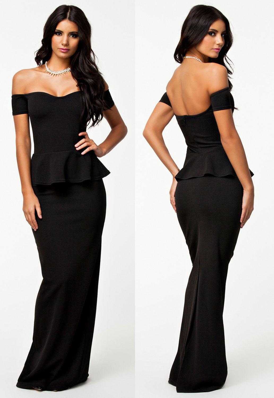Dámské plesové šaty s peplum volánkem 16H černá (Dámské šaty)